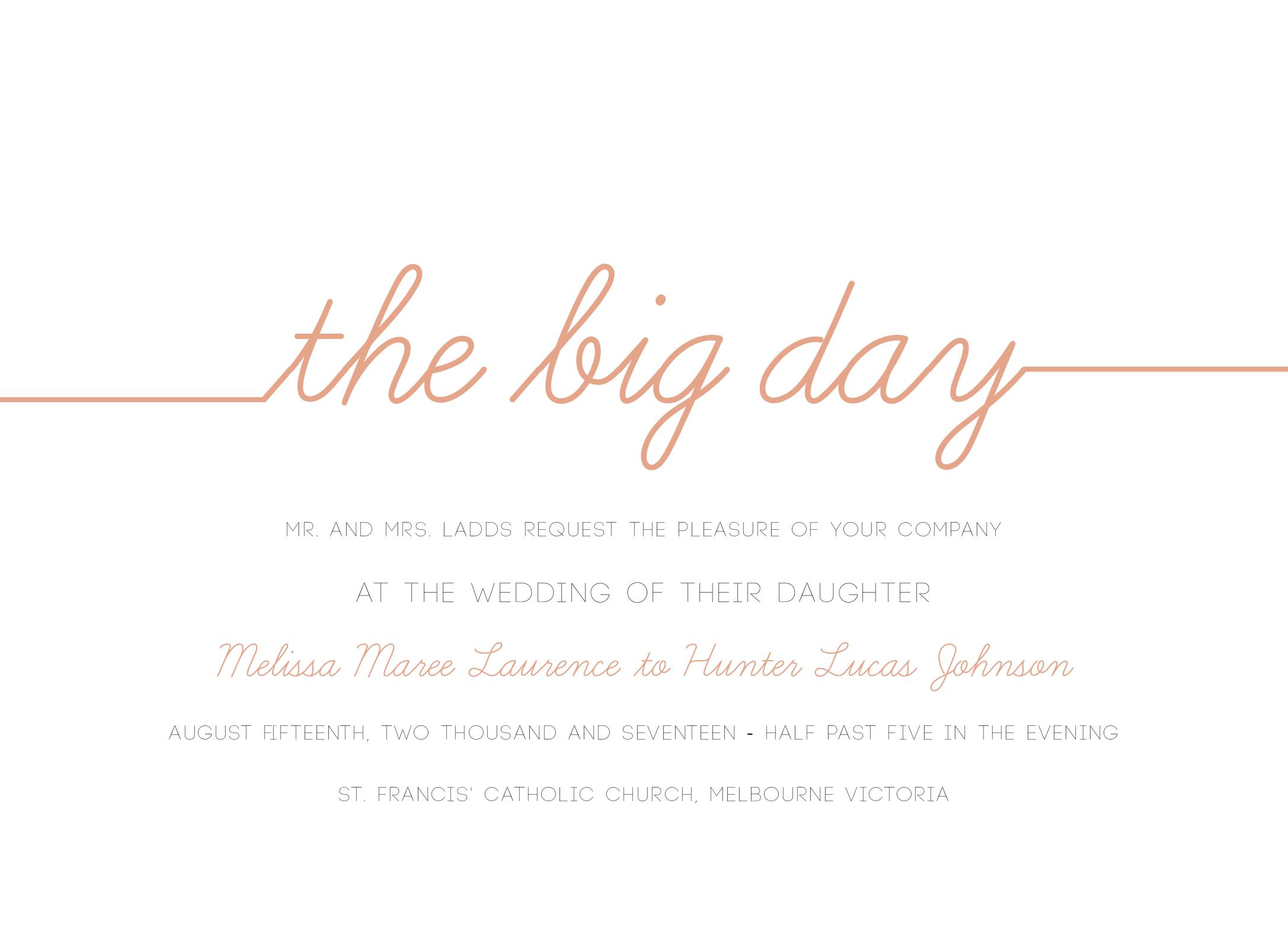 Cursive Digital Printing Wedding Invitations