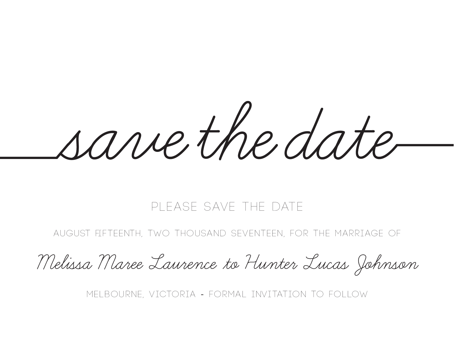 Cursive Save The Date Arrow Left Front