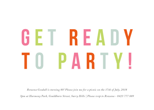Get Ready - Birthday Invitations