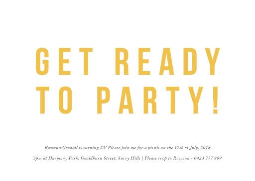 Get Ready - Birthday Invitations