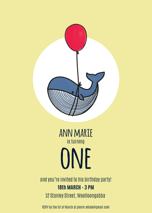 Tiny Whale Animal Birthday Invitations