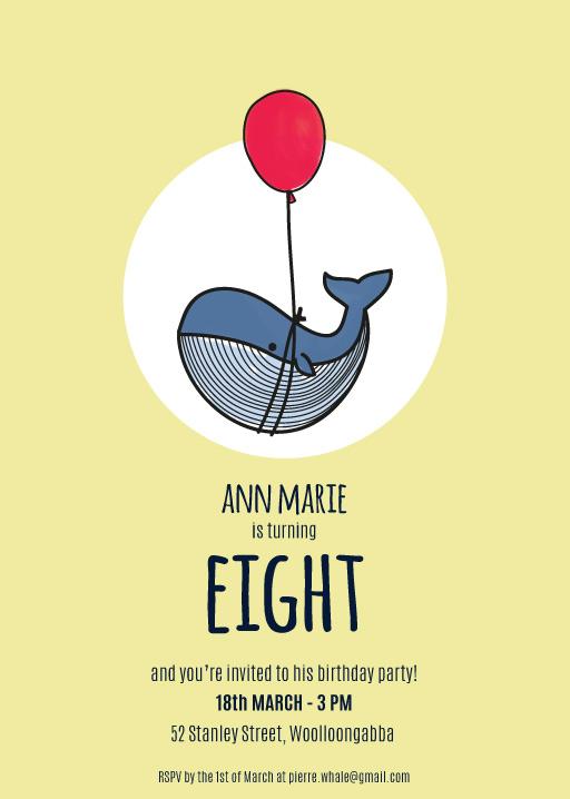 Tiny Whale Animal Birthday Invitations