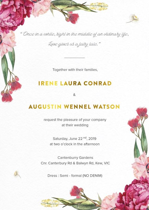 Garden party metallic wedding invitations garden party invitations arrow left front stopboris Choice Image