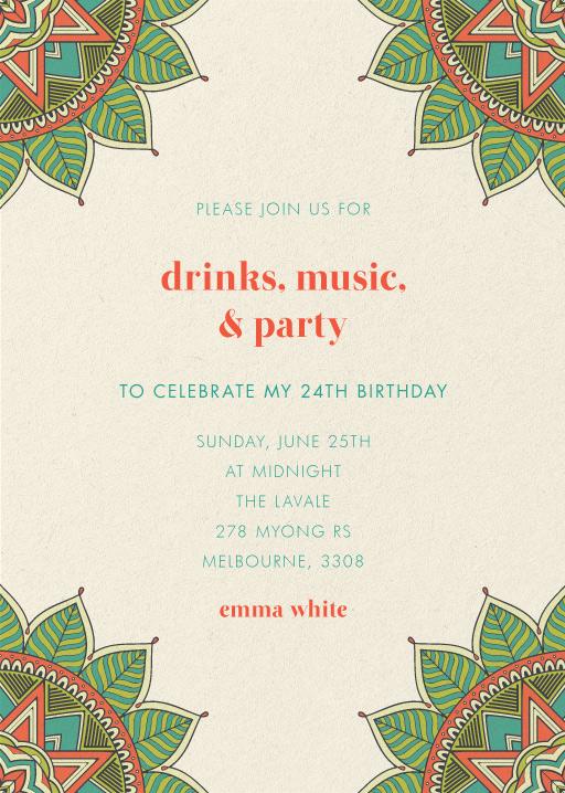 Henna - Birthday Invitations