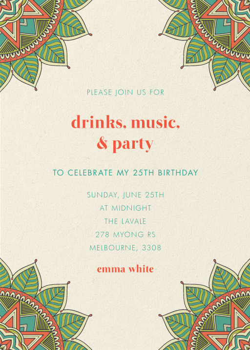 25th Birthday Invitations Designs By Creatives Printed By Paperlust