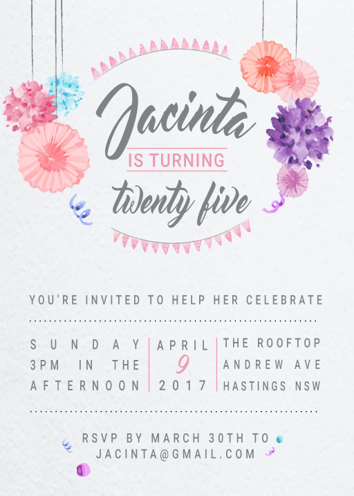 Watercolour - Birthday Invitations
