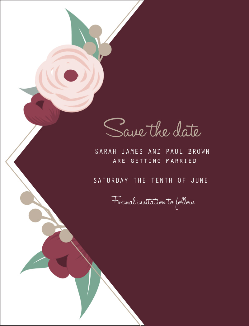 Burgundy Flowers | Digital Printing | Save The Date