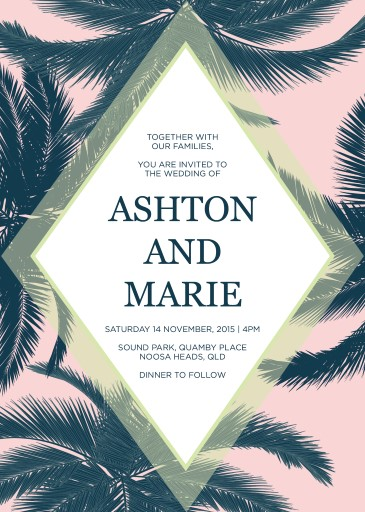Tropical Palm Trees - Wedding Invitations