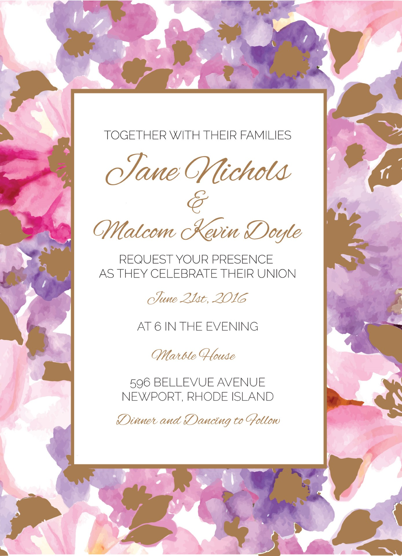 Spring Metallic Wedding Invitations