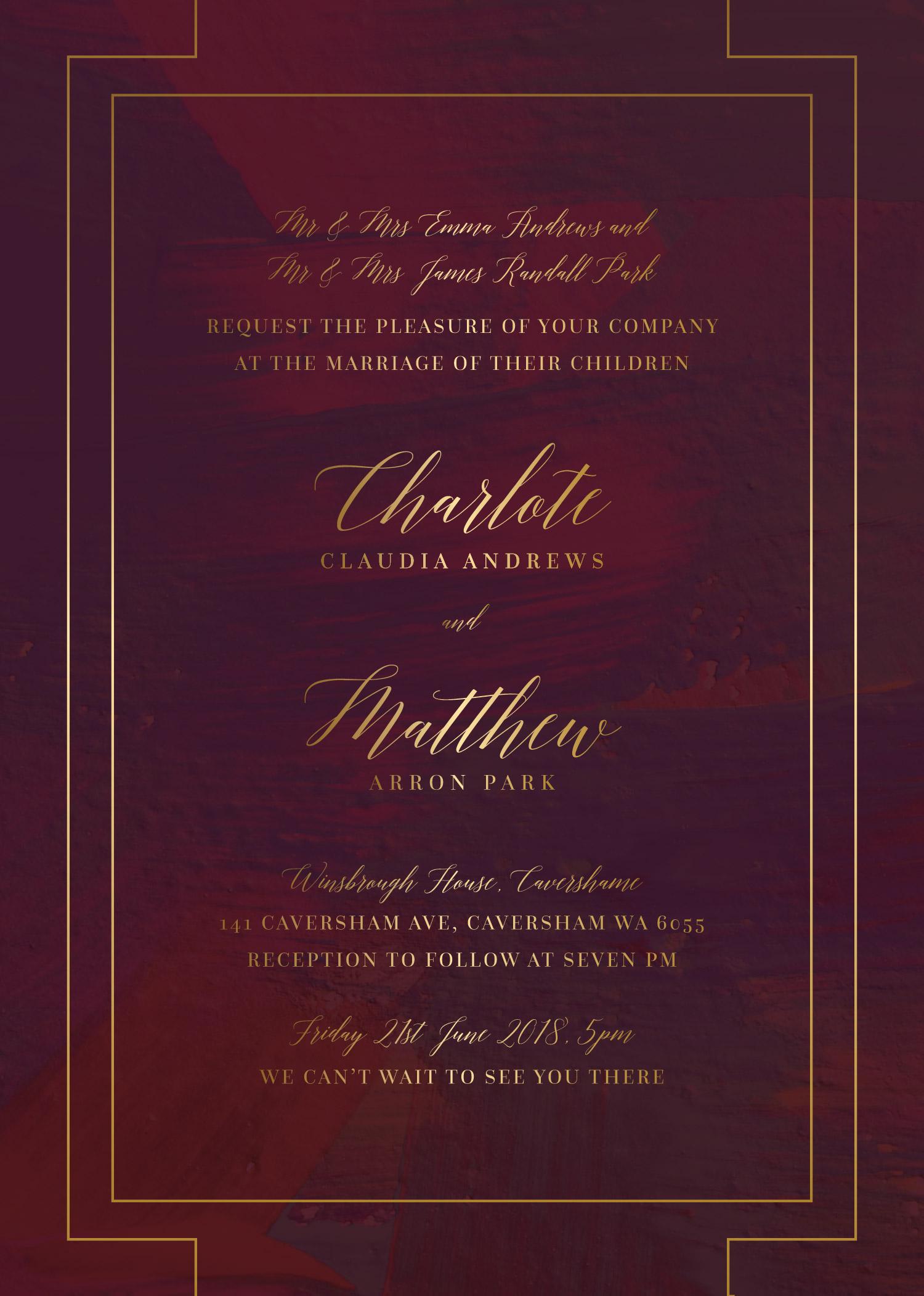 Ron Burgundy Metallic Wedding Invitations