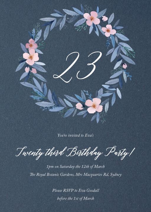 Watercolour Wreath Birthday - Birthday Invitations