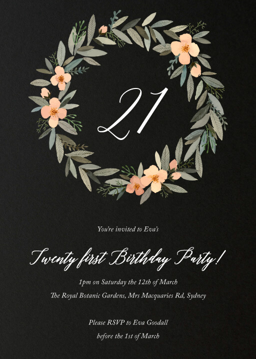 21st birthday invitations designs by creatives printed by paperlust watercolour wreath birthday birthday invitations filmwisefo