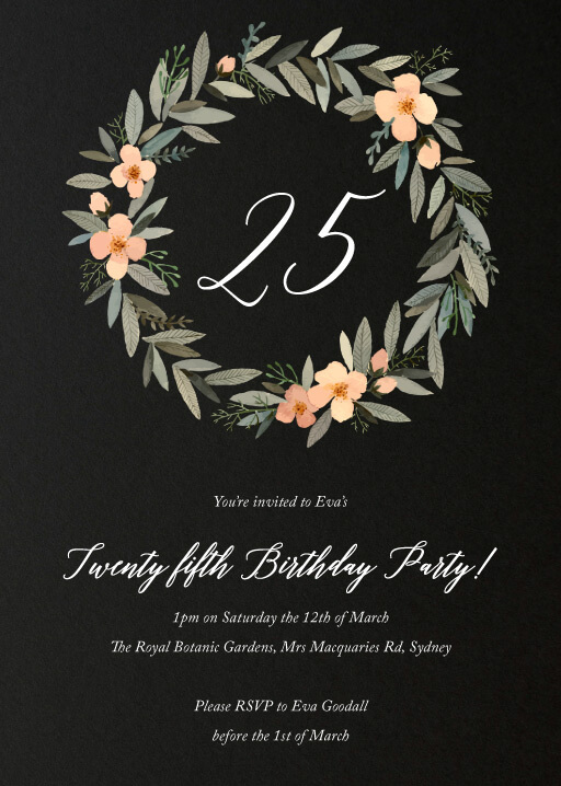Watercolour Wreath Birthday - Birthday Invitations