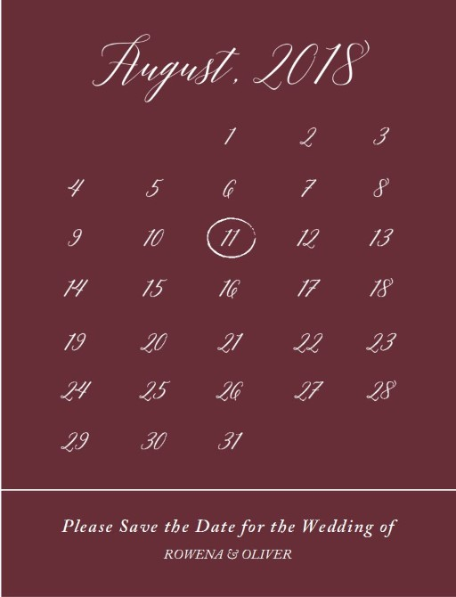 Burgundy script - Save The Date