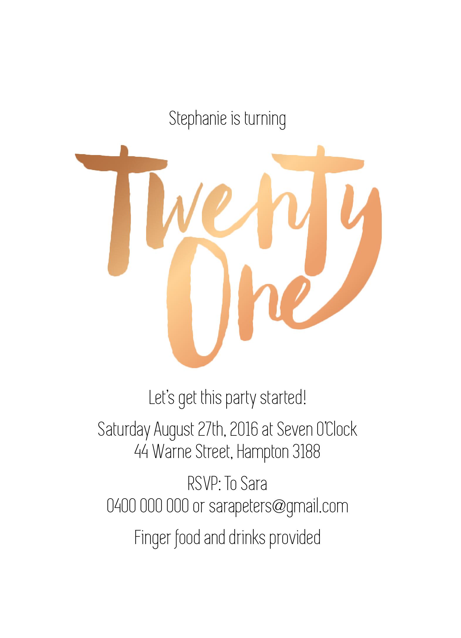 Twenty One | Real Foil | Birthday Invitations