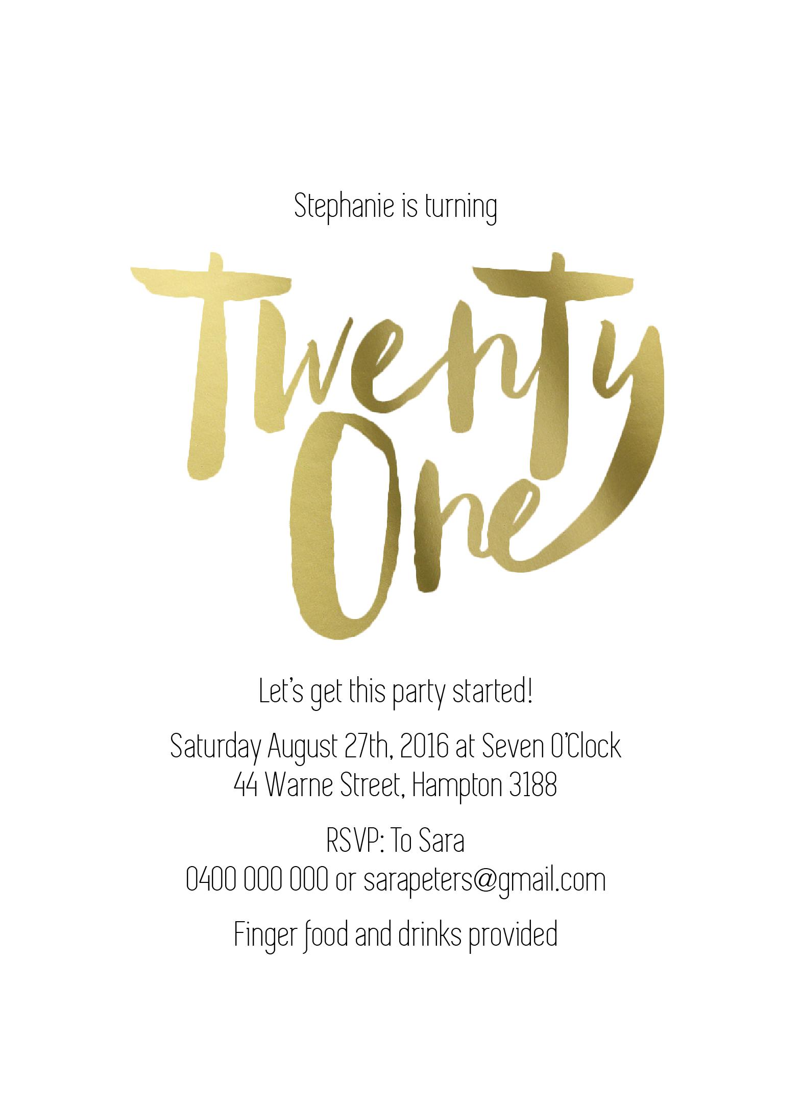 twenty one raised foil birthday invitations