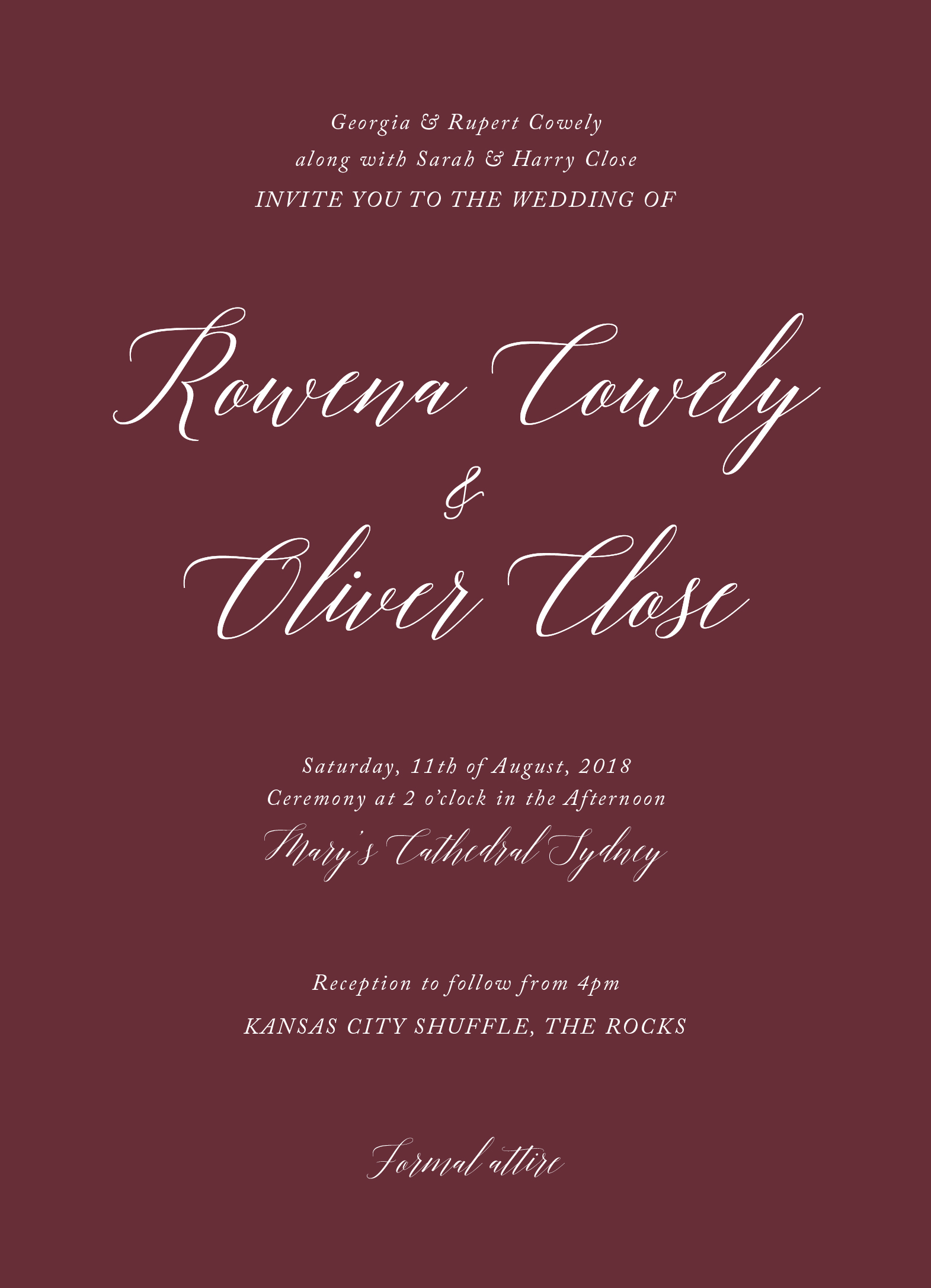 Burgundy Script | White Ink | Wedding Invitations