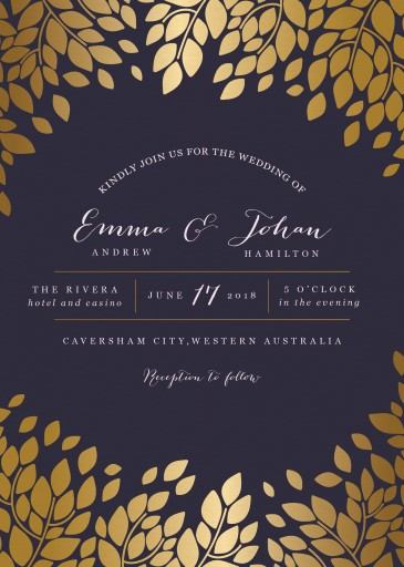 caesar leaf metallic wedding invitations