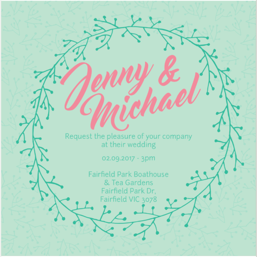 Simple Wreath Wedding - Wedding Invitations