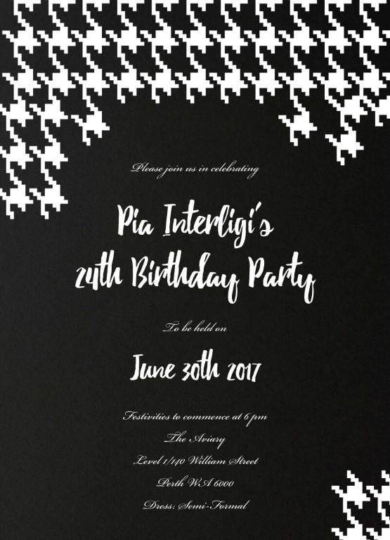 Digital Houndstooth - Birthday Invitations