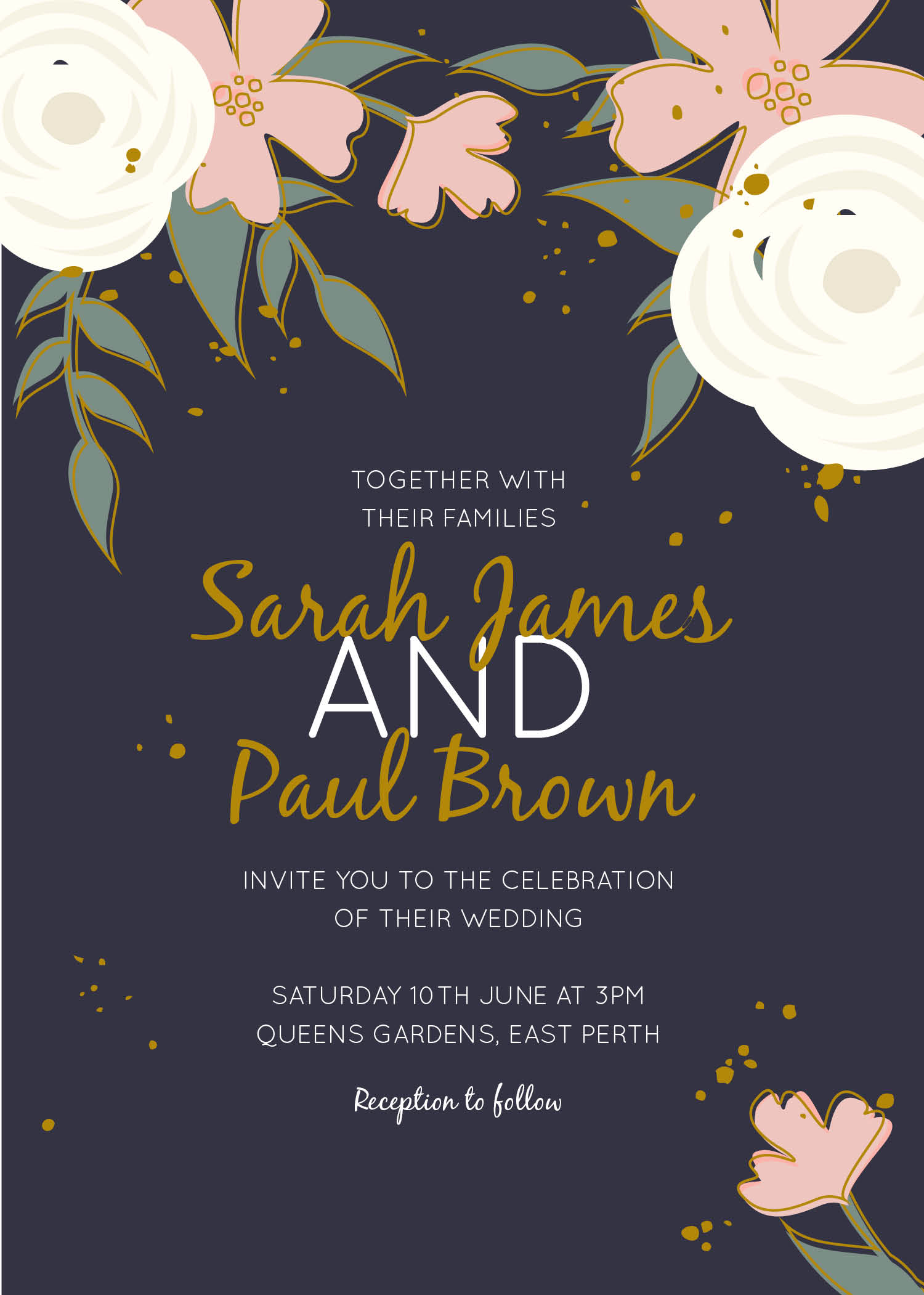 Golden flowers real foil wedding invitations front stopboris Choice Image
