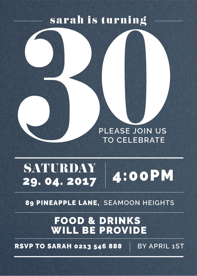 Big 30 | White Ink | Birthday Invitations