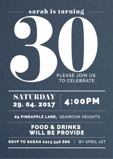 Big 30 - Birthday Invitations