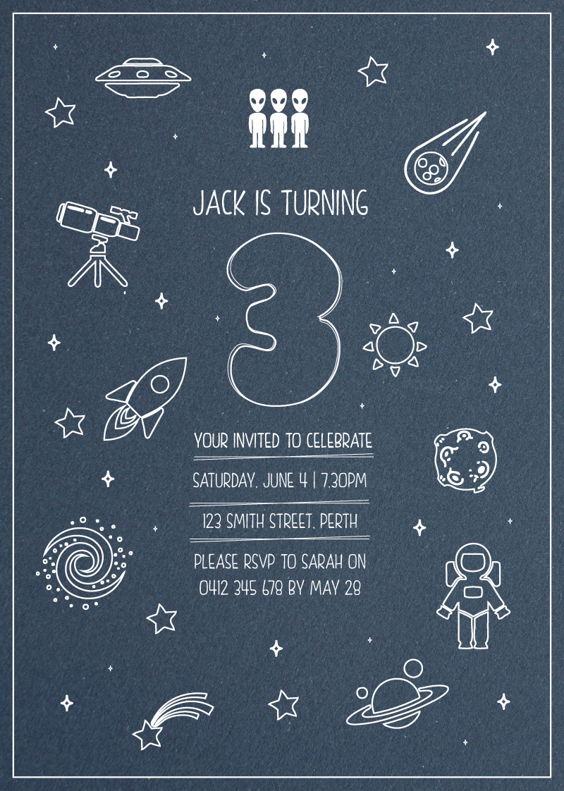 Outer space white ink birthday invitations for Outer space design richmond