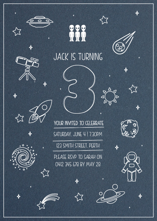 Outer Space - Birthday Invitations