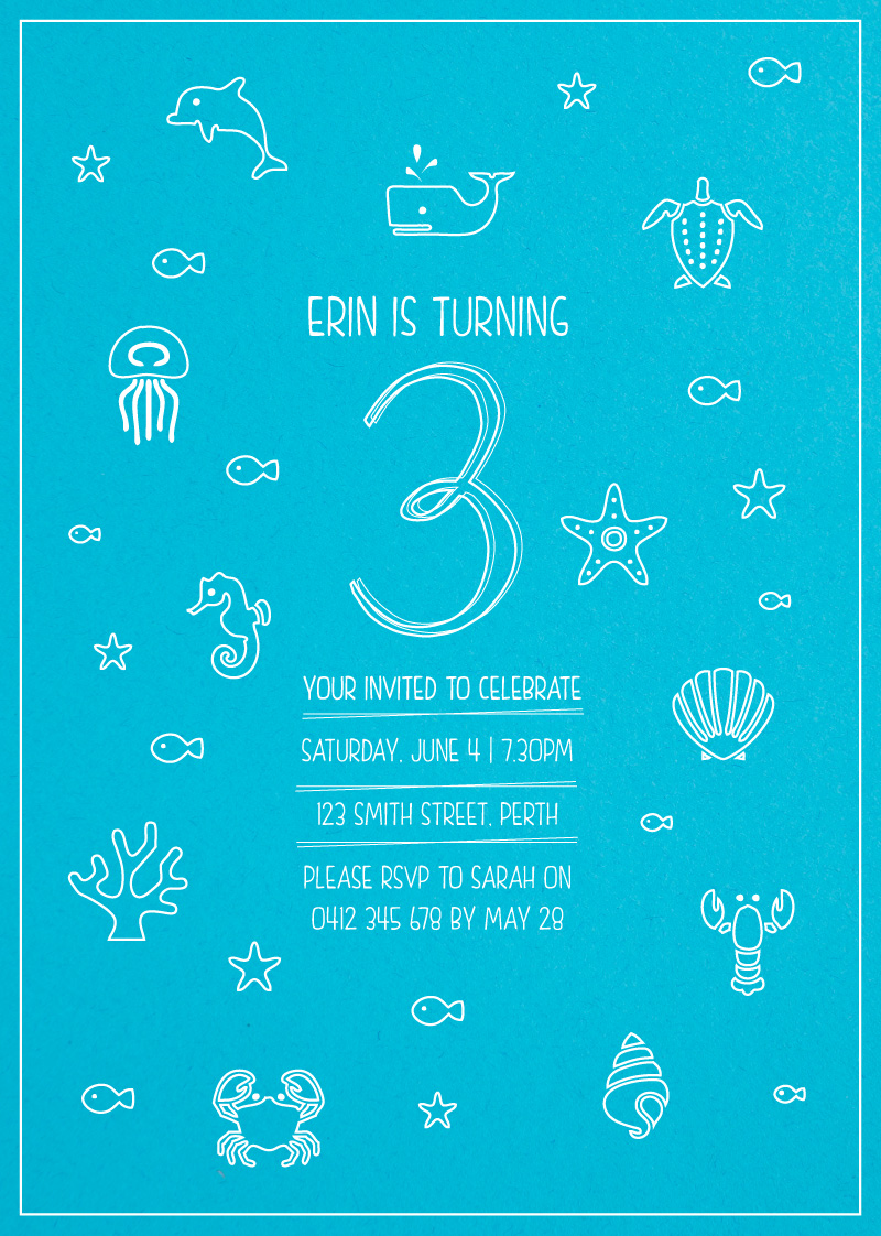 Blue ocean white ink birthday invitations - Blue ocean design ...