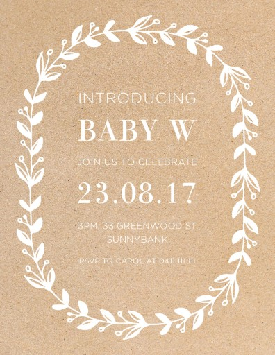 Baby Blues Wreath - baby shower invitations