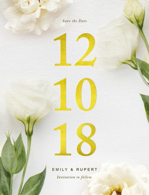 White floral - Save The Date