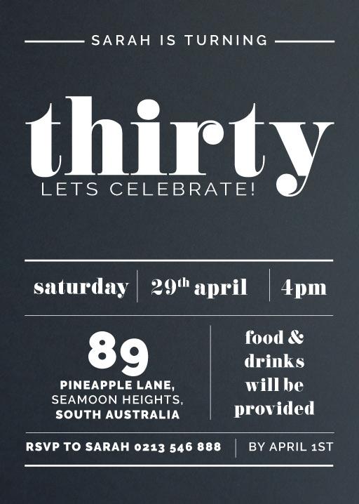 Thirty in Reverse - birthday invitations