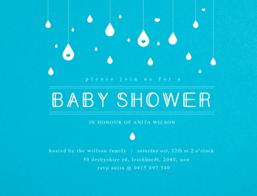 Baby rain - baby shower invitations