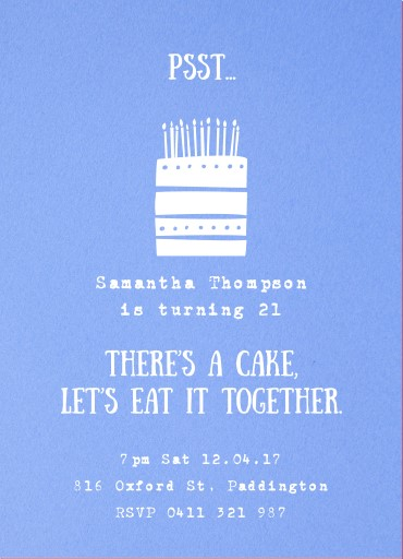 I have a cake - birthday invitations