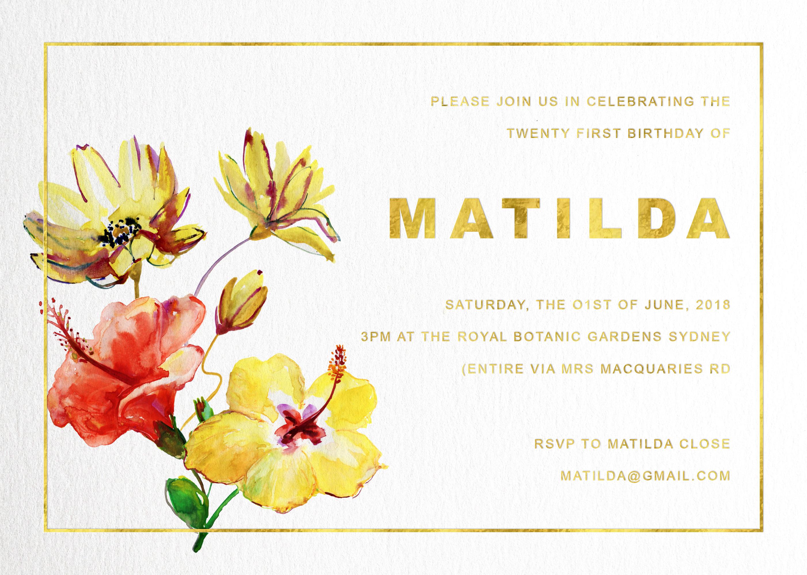 Yellow Flower | Metallic | Birthday Invitations