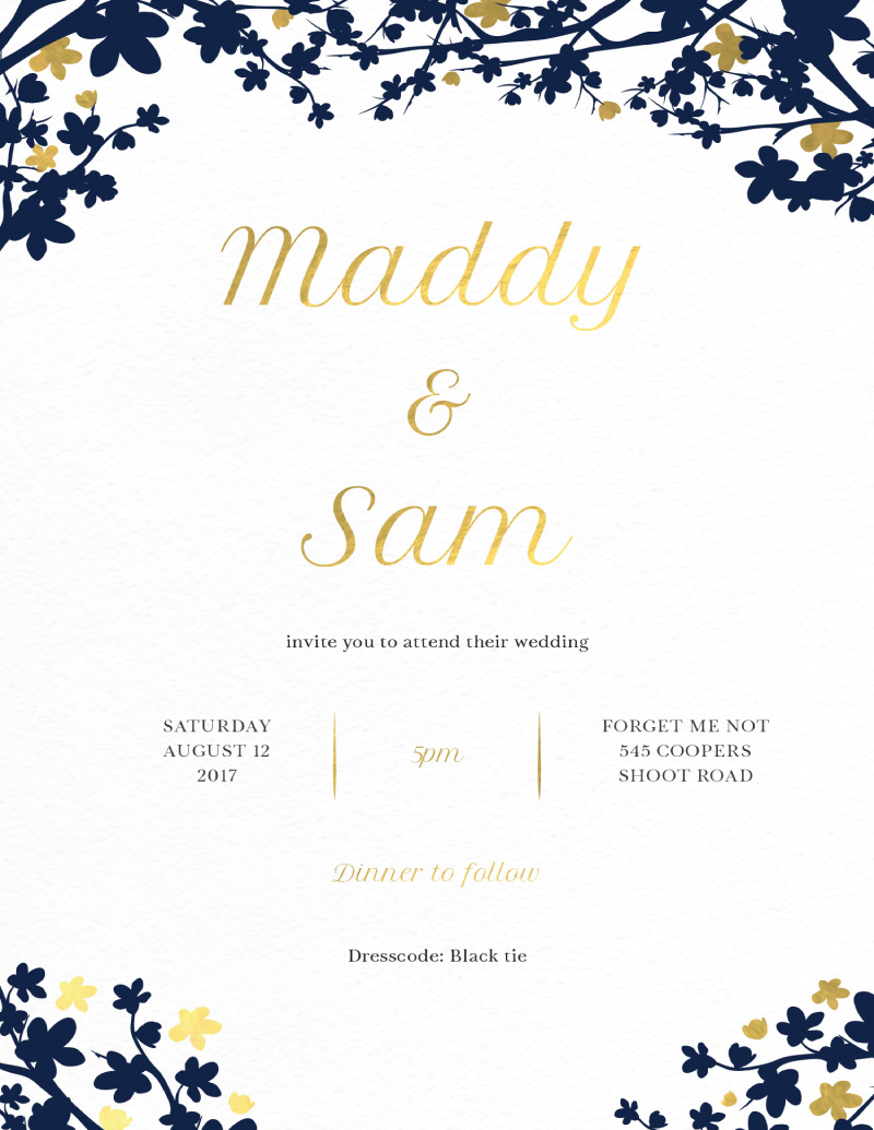 Cherry Blossom | Real Foil | Wedding Invitations