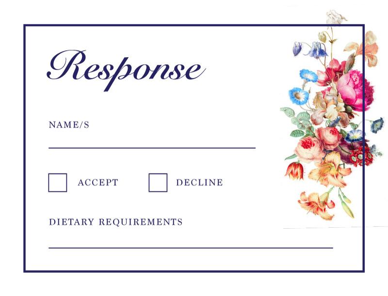 Vintage Floral Digital Printing Rsvp Cards