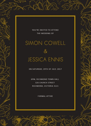 Gold Flower Illustration - Wedding Invitations
