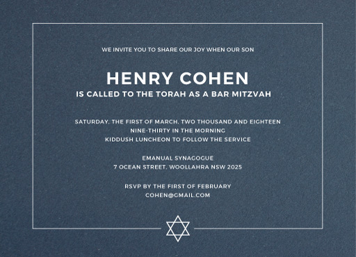 Simplicity - Bar Mitzvah Invitations