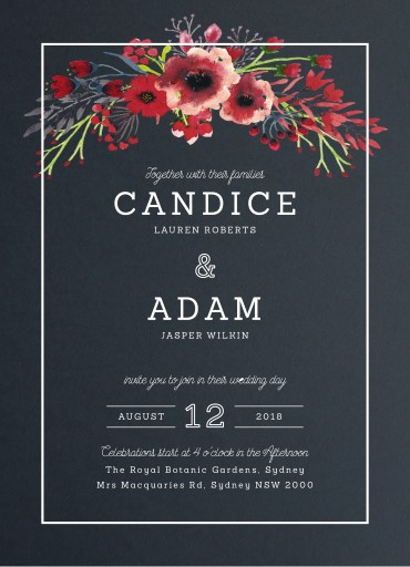 Grand Burgundy White Ink Wedding Invitations