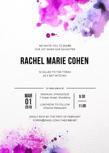 Watercolour splash - bar & bat mitzvah invitations
