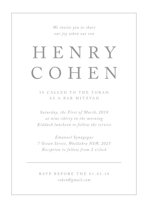 Silver - Bar Mitzvah Invitations