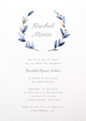 Purple Wreath - Bat Mitzvah Invitations