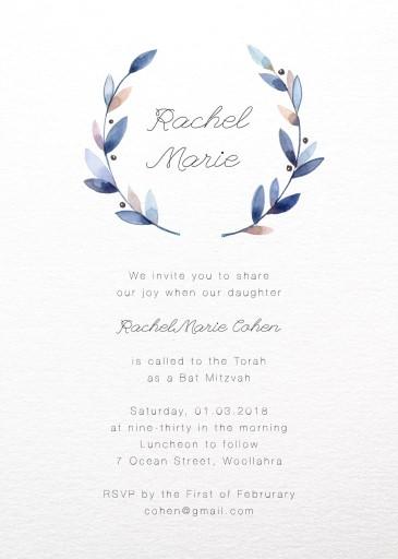 Purple Wreath - Bat Mitzvah Invitations
