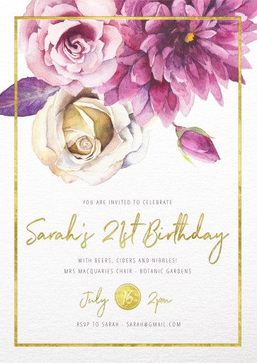 flower girls metallic birthday invitations