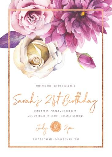 Flower Girls - Floral Birthday Invitation