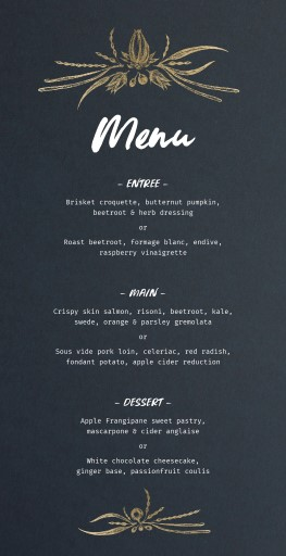 Fervour - Wedding Menu