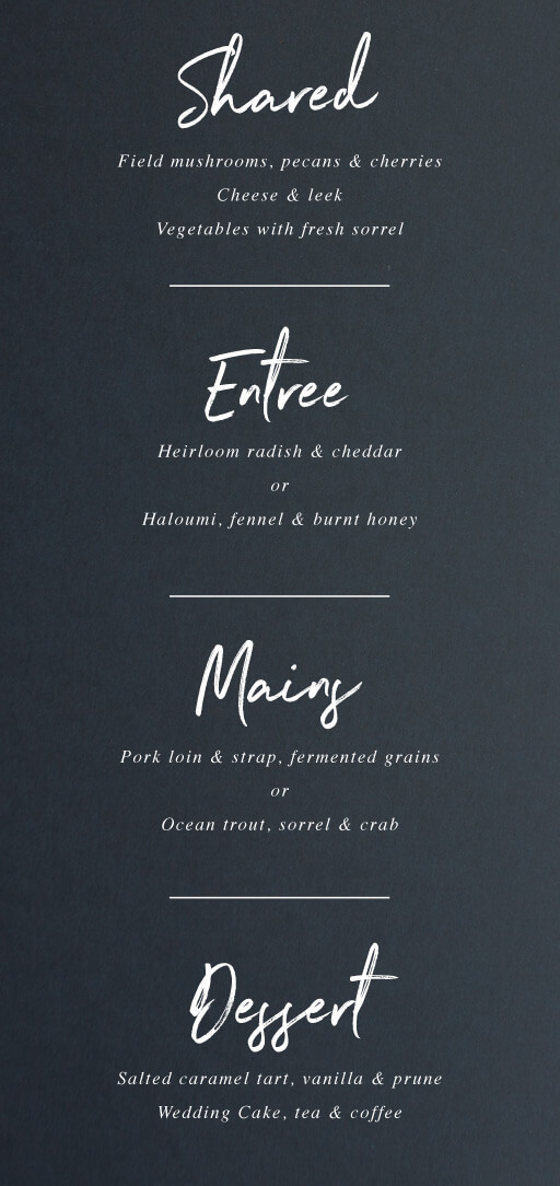 Moira Hughes Couture - Menu