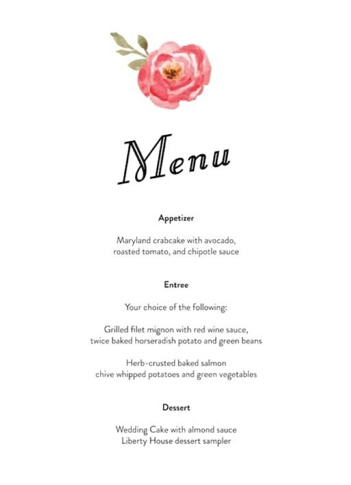 Love Me Tender - Menu